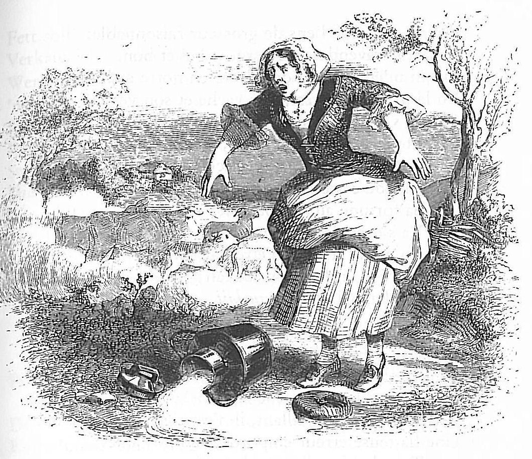 Jean Inias Isidore (Gerard) Granville. Thrush and a pot of milk. Illustrations to the fables of Jean de Lafontaine