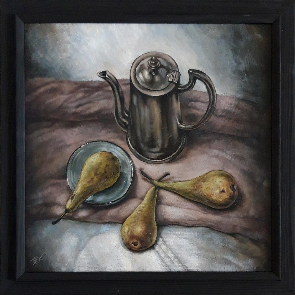 Olga Ray. Натюрморт с кофейником и грушами