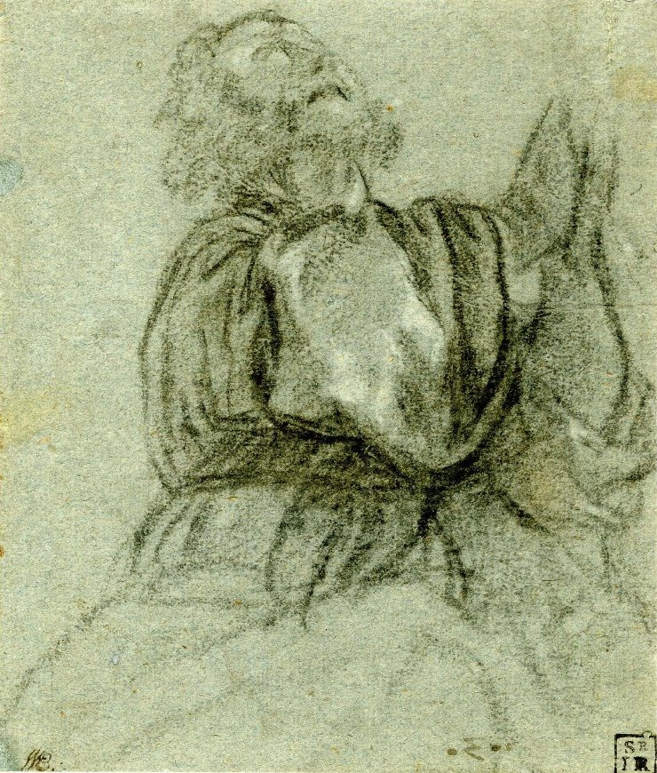 Titian Vecelli. Sketch of a man in the drape for the image of St. Peter