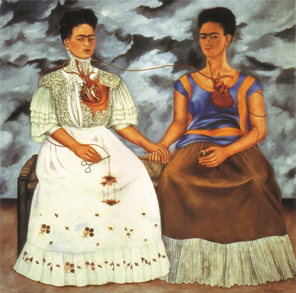 the message in the double portrait the two fridas by frida kahlo The two fridas: culture, politics and identity in the paintings of frida kahlo (recap) during frida kahlo's lifetime she created around 200 paintings, drawings and sketches related to her life experience as well as her physical and emotional pain she went through during her turbulent relationship with diego.