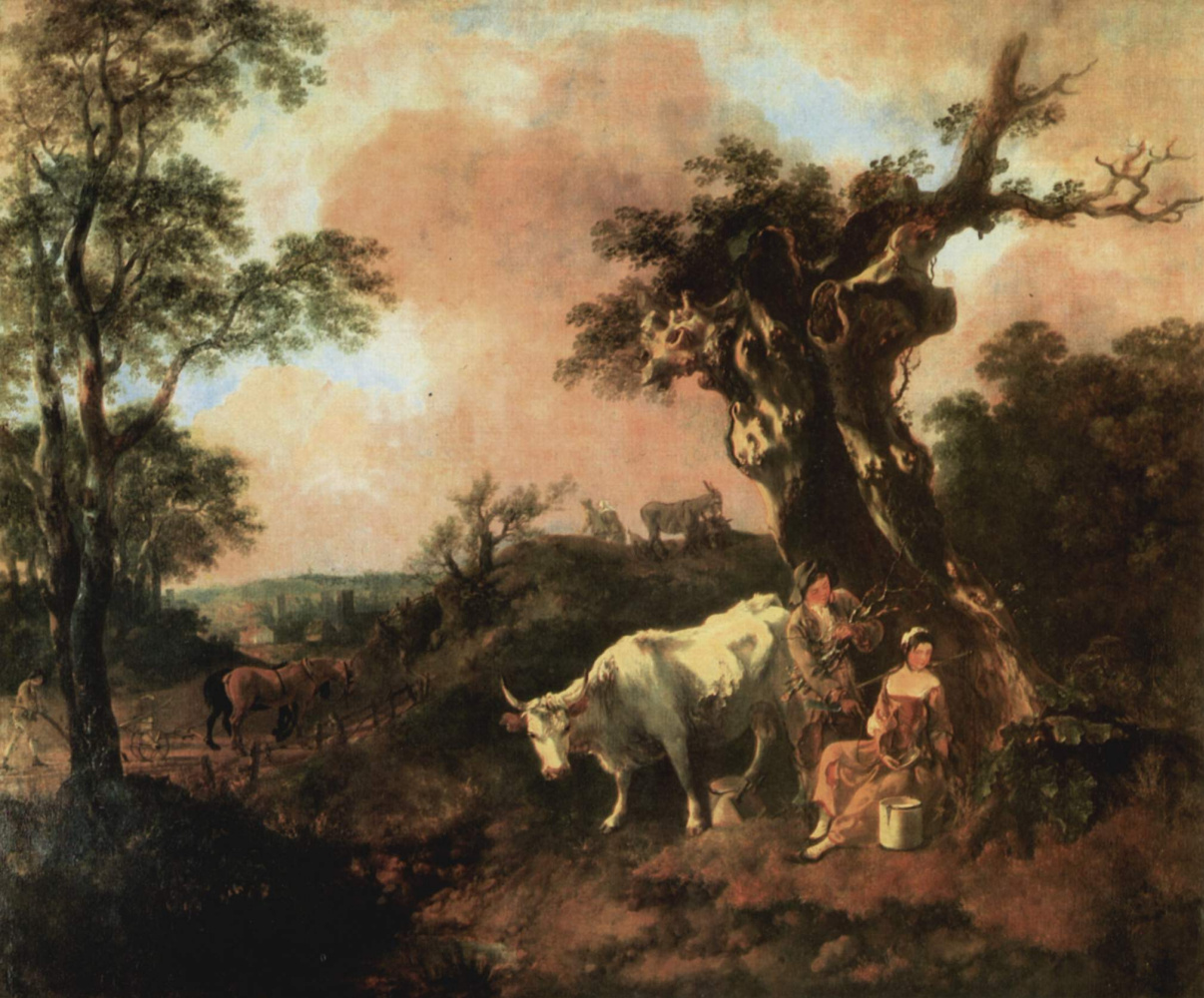 Thomas Gainsborough. Lumberjack, flirting with a young thrush