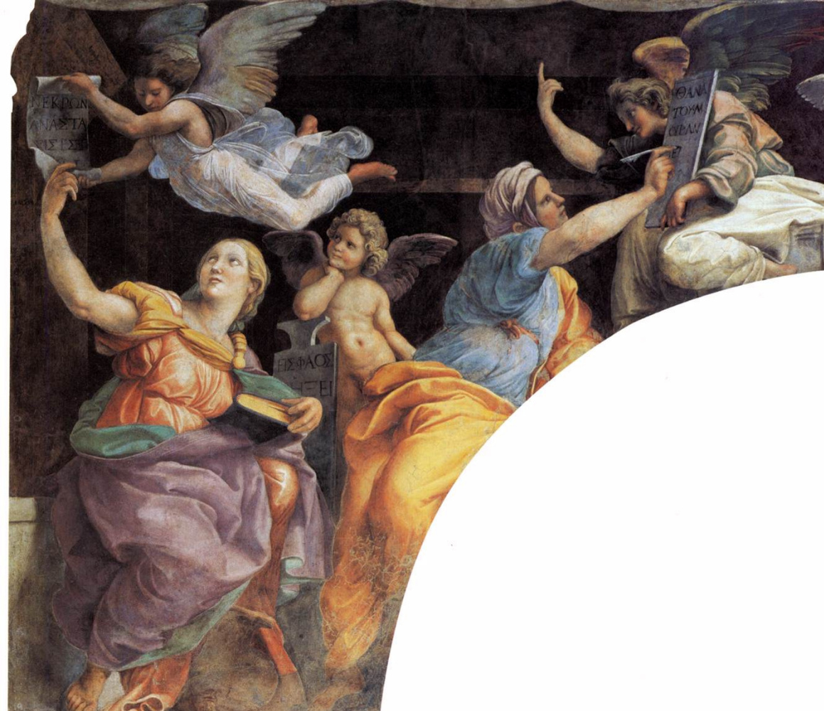 Raphael Sanzio. Sybil and the Prophets. Fresco Church of Santa Maria della Pace, Rome. Snippet: Sybil, left side