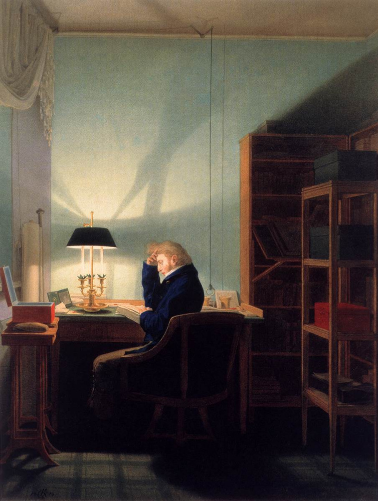 Georg Friedrich Kersting. Man reading by the lamp