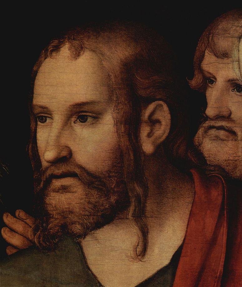 Лукас Кранах Младший. Христос и грешница, деталь: Христос