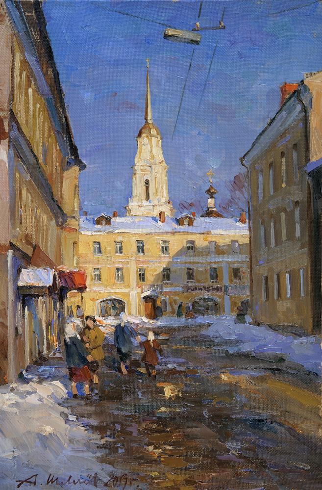Alexander Victorovich Shevelyov. Evening in Rybinsk. Oil on canvas 33,8 # 50,8 cm 2013
