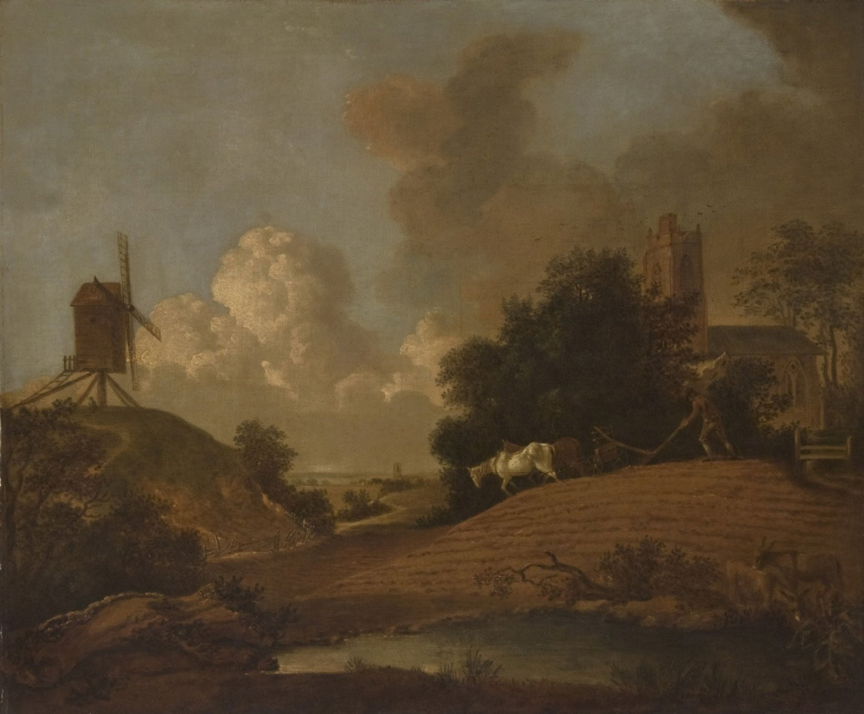 Thomas Gainsborough. Landscape with a windmill