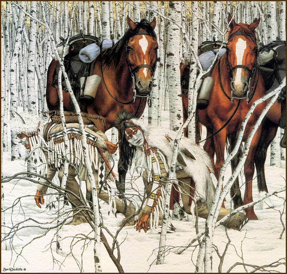 Bev Doolittle. Two Indian horses