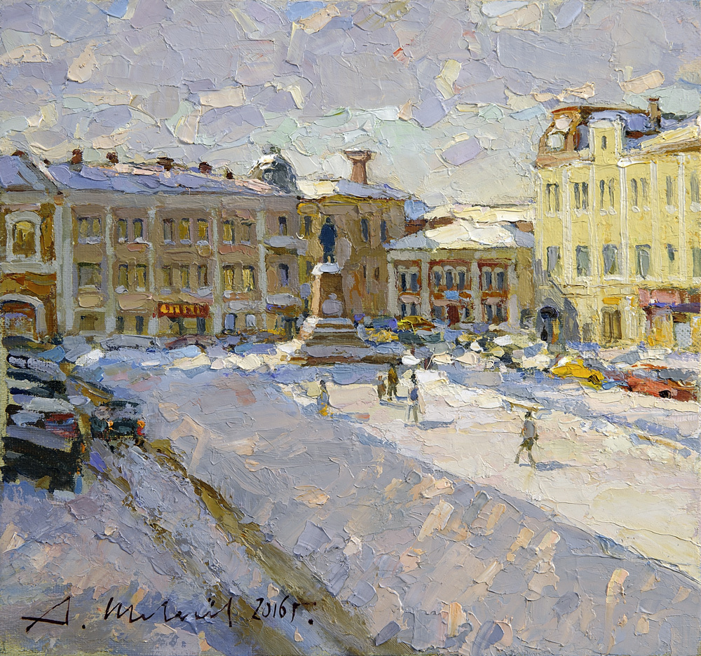 Alexander Victorovich Shevelyov. Rybinsk. The Red Square. Oil on canvas 24.5 x 26.5 cm. 2016
