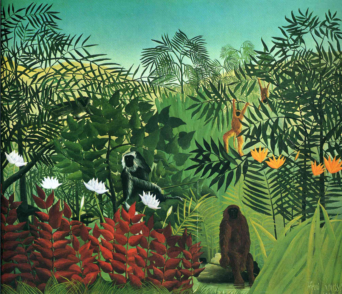 Henri Rousseau. Tropical forest with monkey and snake