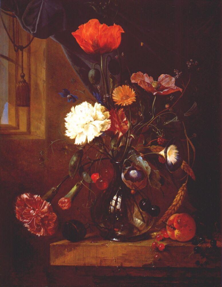 Cornelis de Hem. A bouquet of flowers in a glass vase