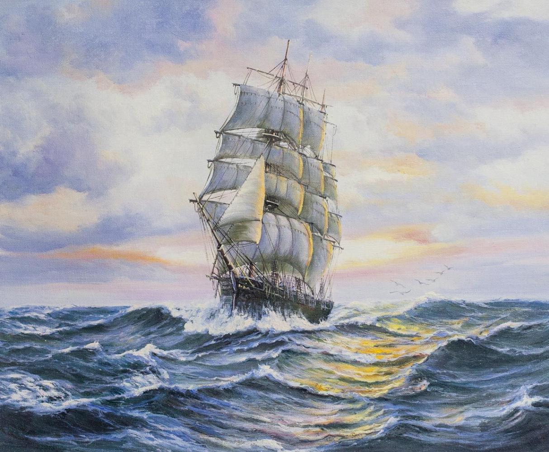 Daria Feliksovna Lagno. Sailboat at sunset N2