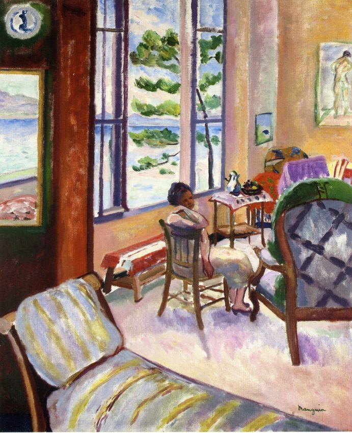 Henri Manguin. Open window with sea views