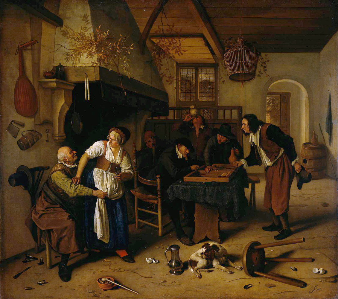 Jan Steen. Two types of games. Interior of a tavern with the old man and the mistress