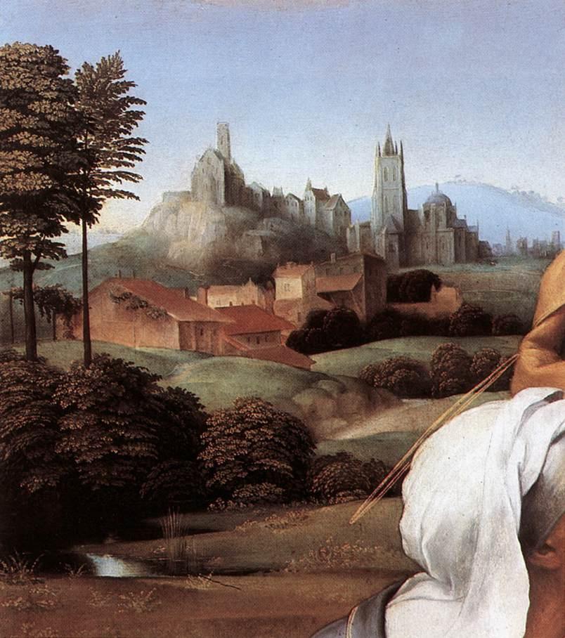 Рафаэль Санти. Святое семейство Каниджиани (Святое семейство со св. Елизаветой и св. Иоанном Крестителем). Фрагмент: пейзаж