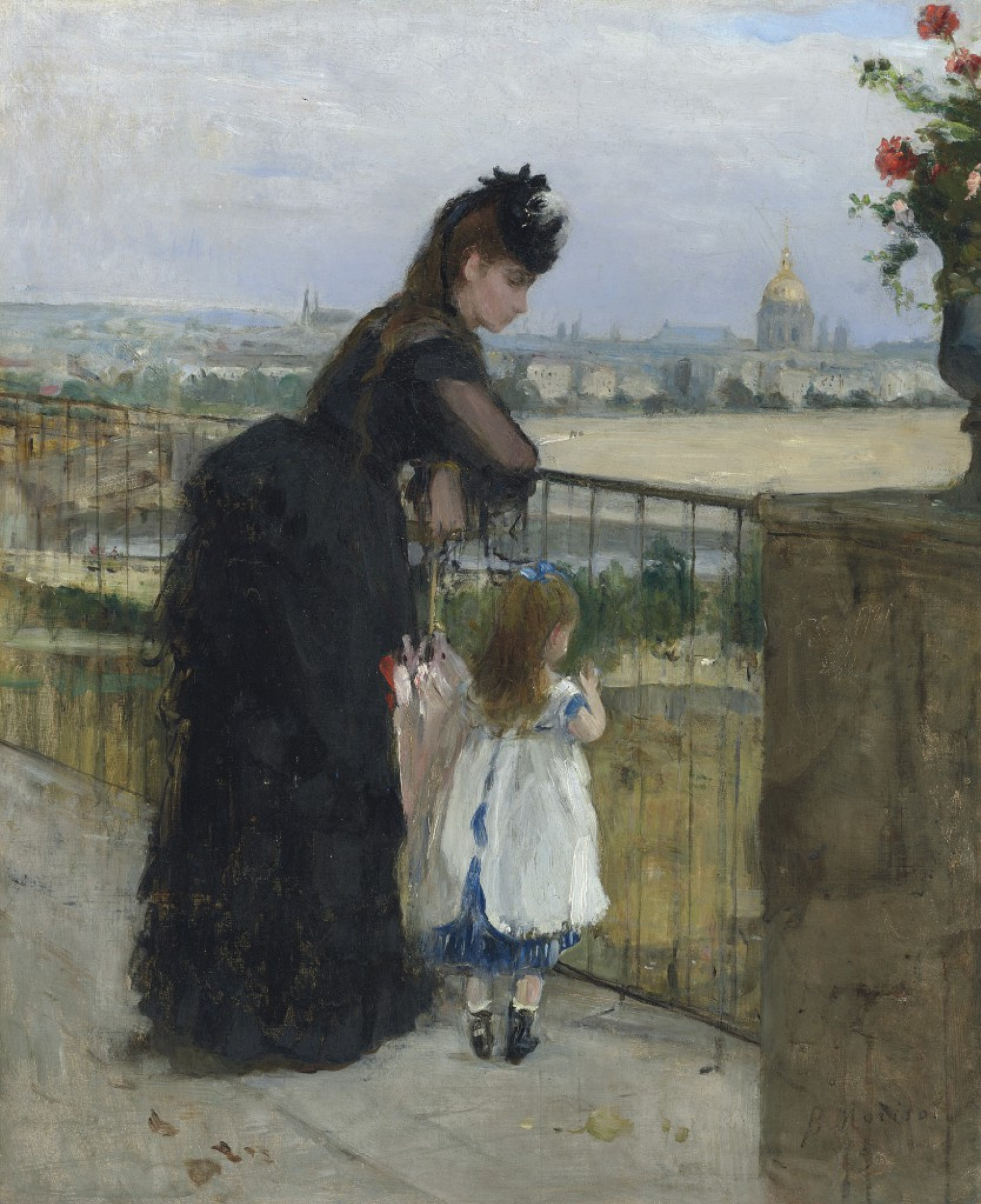 Berthe Morisot. A woman with a baby on the balcony