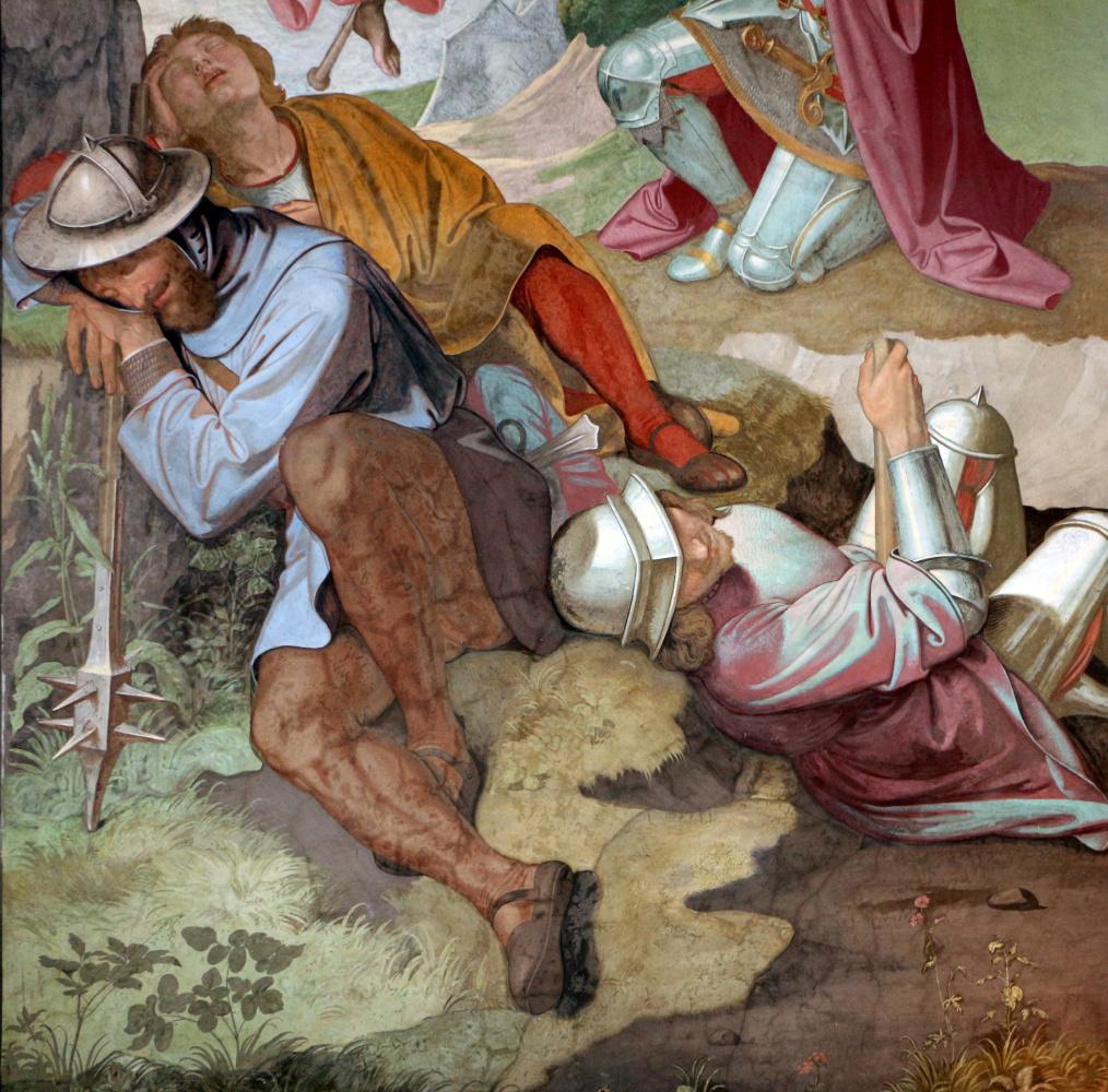 Johann Friedrich Overbeck. The frescoes of the villa Massimo, Tasso Hall: The Archangel Gabriel instructs Gottfried Bouillon to liberate Jerusalem. Fragment