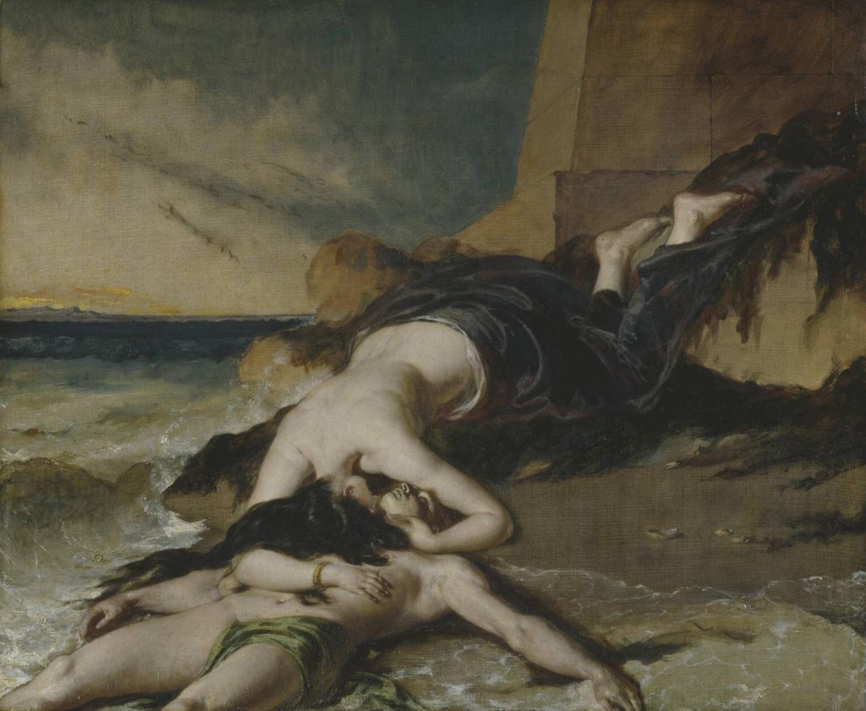 Уильям Этти. Геро, выбросившая из башни при виде утонувшего Леандра, умирает на его теле