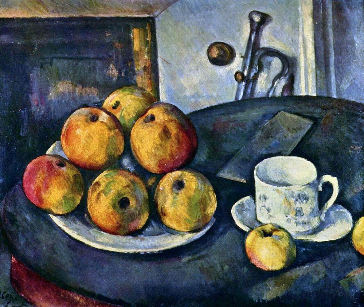 Поль Сезанн. Натюрморт с яблоками и чашкой