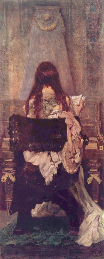 Hans Makart. The lady at the spinet
