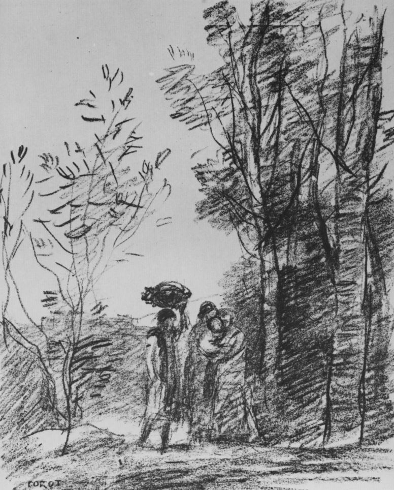 Camille Corot. Meeting in the grove