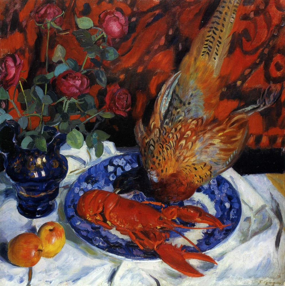 Boris Kustodiev. Still life. Lobster and pheasant