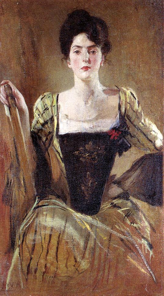 John White Alexander. Green dress for lady