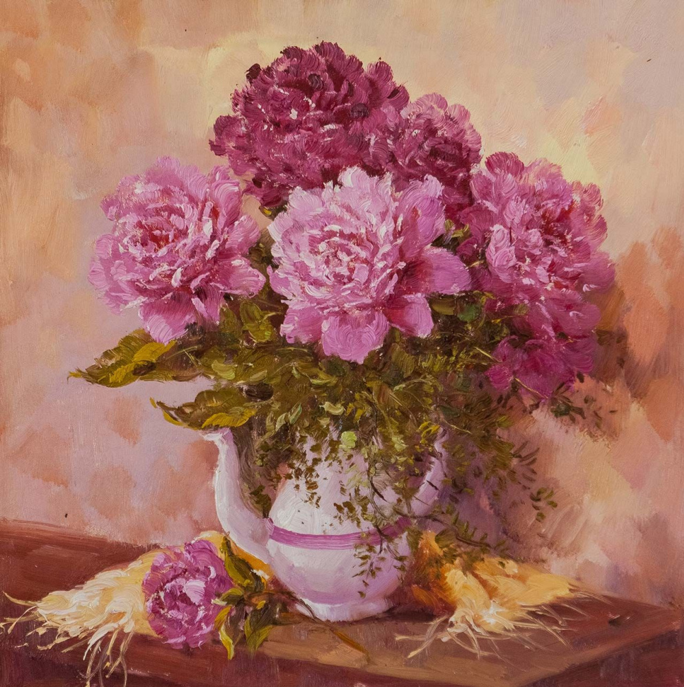 """Andrzej Vlodarczyk. Still life with oil """"Peonies and a teapot"""""""