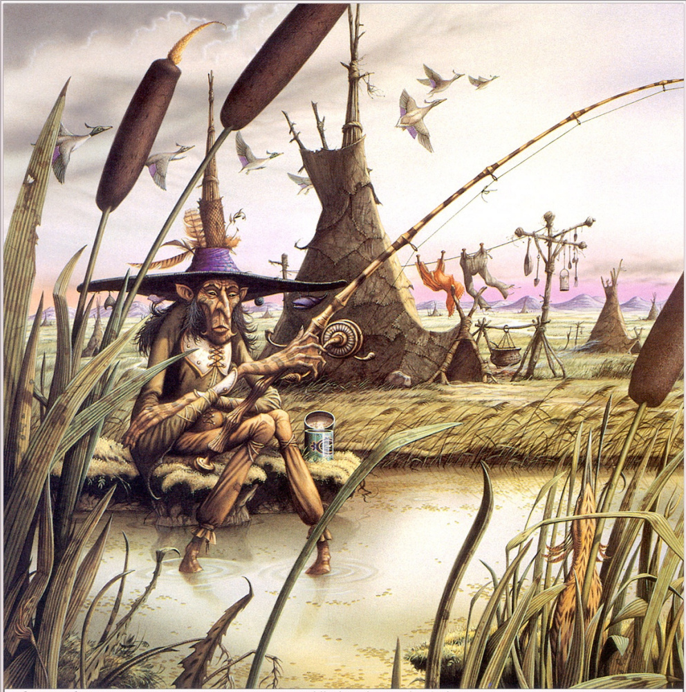 Rodney Matthews. A puddle in a dark swamp