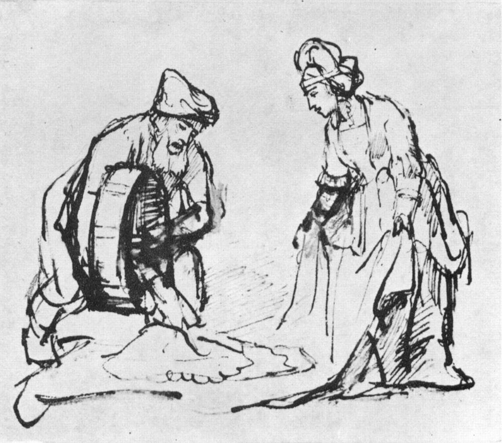 Рембрандт Харменс ван Рейн. Вооз насыпает зерно в плащ Руфи