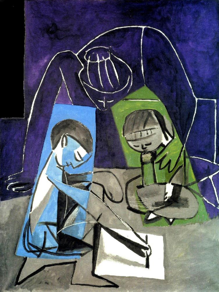 Пабло Пикассо. Франсуаза, Палома и рисующий Клод