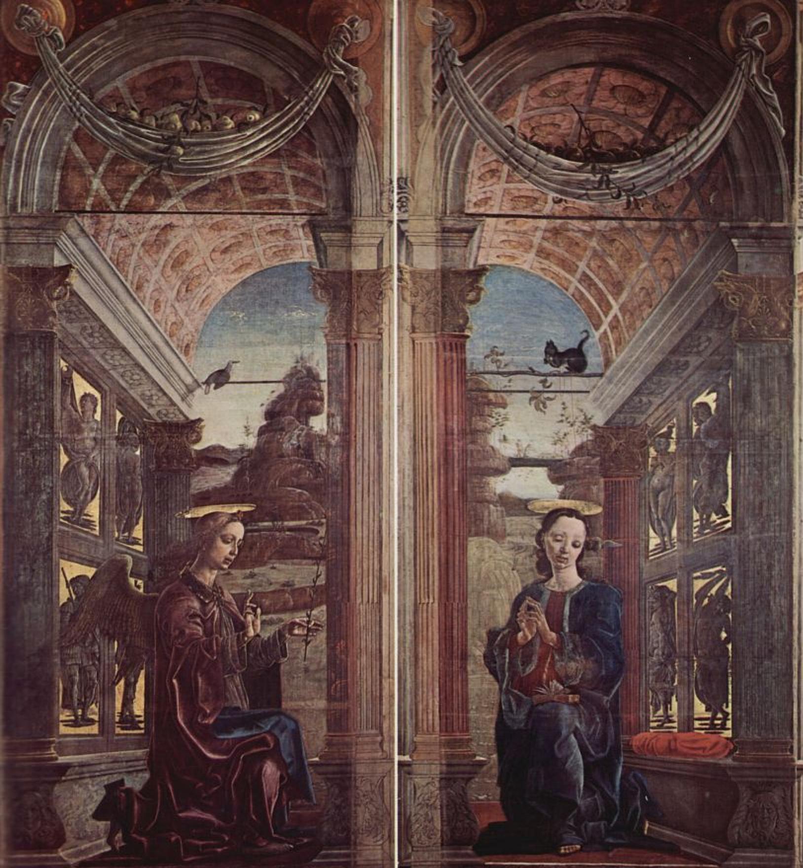 Козимо Тура. Четыре органных створки Кафедрального собора в Ферраре, с св. Георгом и драконом и Благовещением, сцена: Благовещение