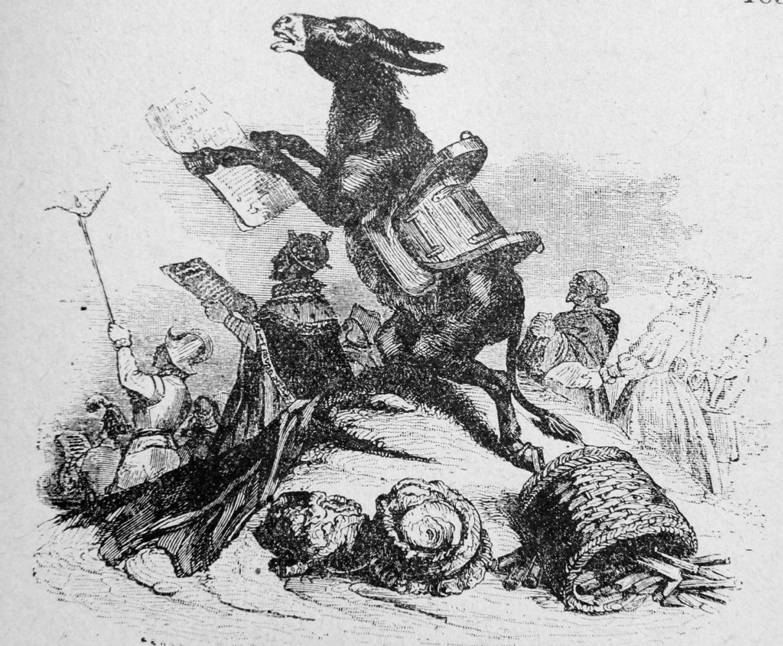 Жан Иньяс Изидор (Жерар) Гранвиль. Осел и его Хозяева. Иллюстрации к басням Жана де Лафонтена