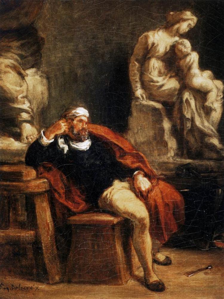Eugene Delacroix. Michelangelo in his Studio