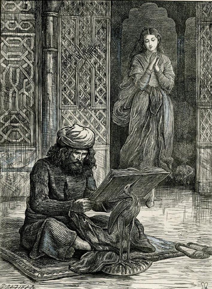 "Джон Эверетт Милле. Зубайда и мужчина, читающий Коран. ""Арабские ночи"""