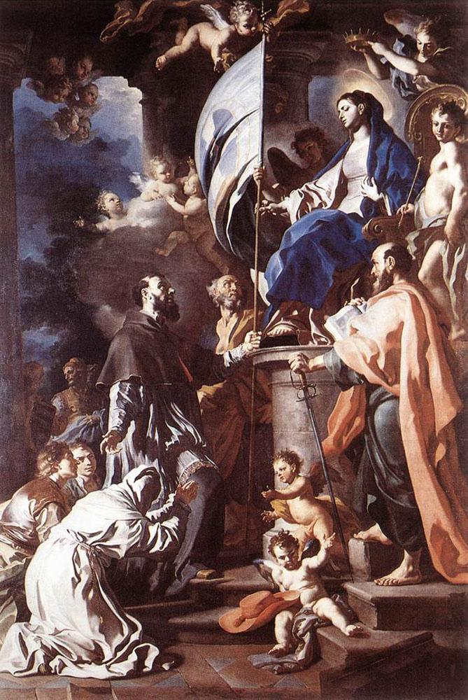 Франческо Солимена. Св. Бонавентура получает святое знамя Господня от Мадонны