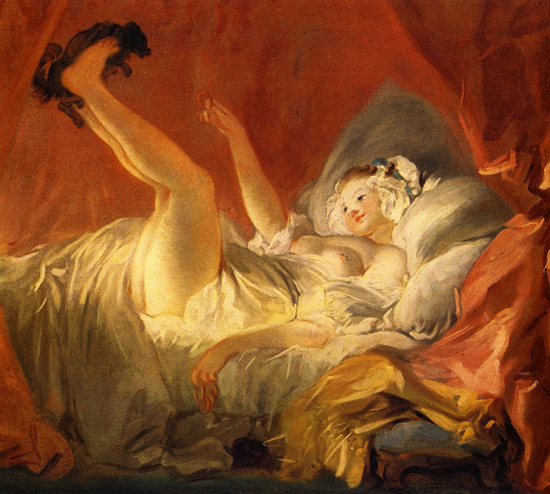 Jean Honore Fragonard. Girl playing with a dog