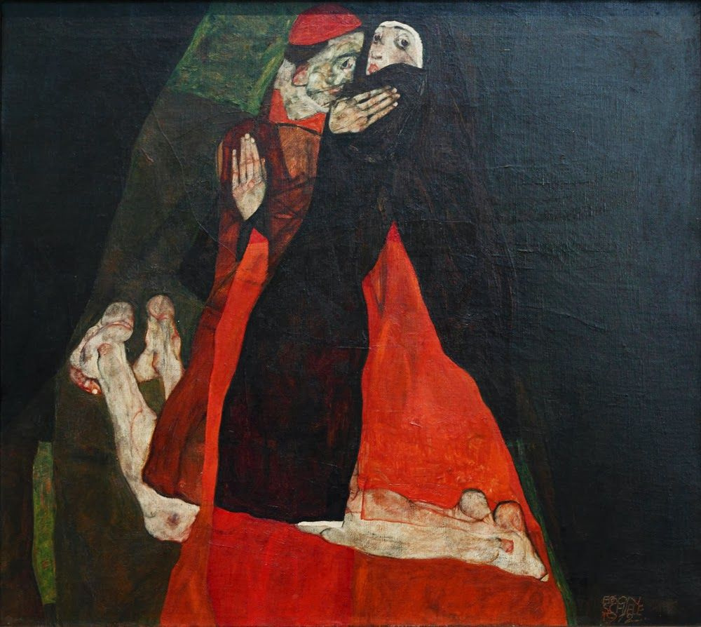 Egon Schiele. Cardinal and nun