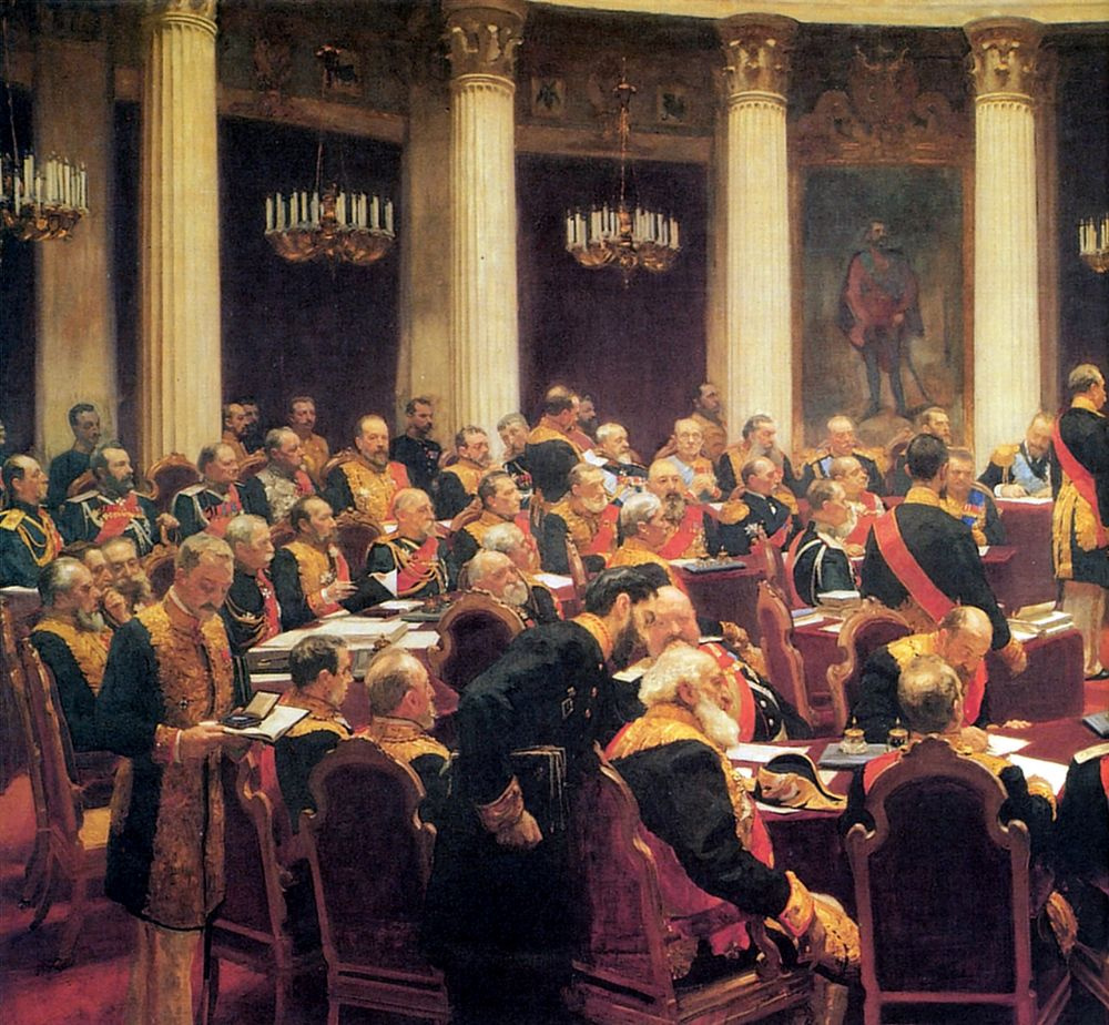 Ilya Efimovich Repin. The ceremonial meeting of the State Council on 7 may 1901, in day of a centenary from the day of its establishment. Fragment