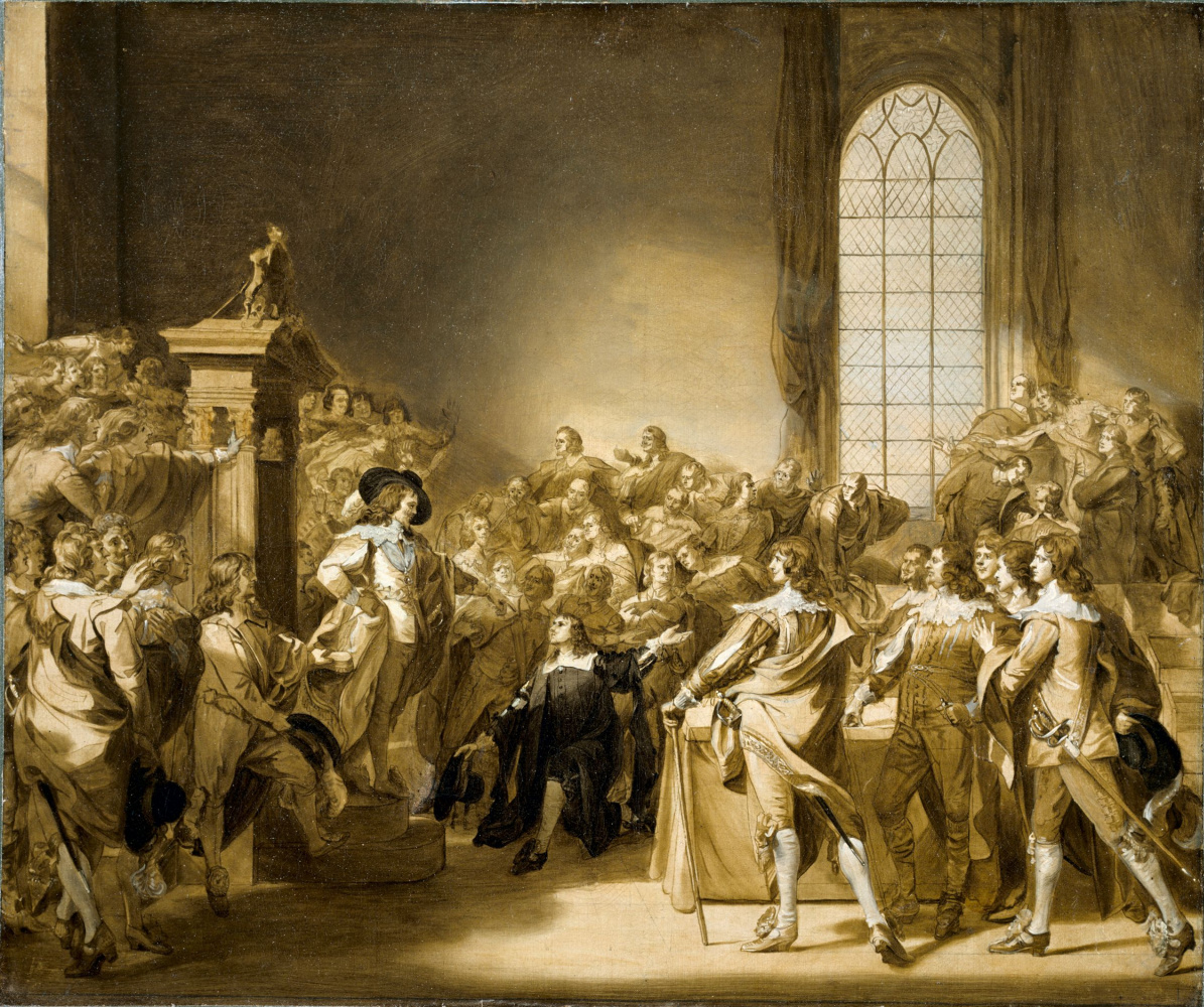 John Singleton Copley. Charles I demanding the five impeached members of the house of Commons. Sketch