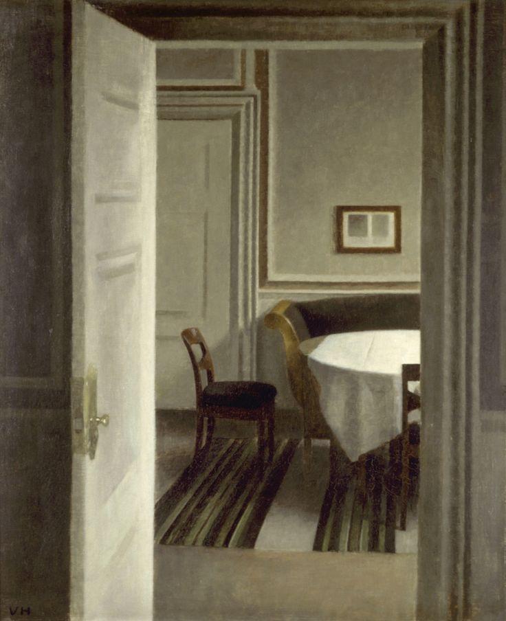Вильгельм Хаммерсхёй. Интерьер за открытой дверью. Страндгед, 30