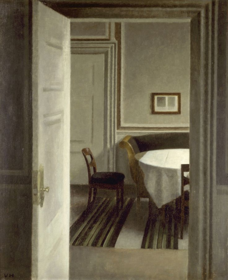 Vilhelm Hammershøi. The interior is behind an open door. Strandgedd 30