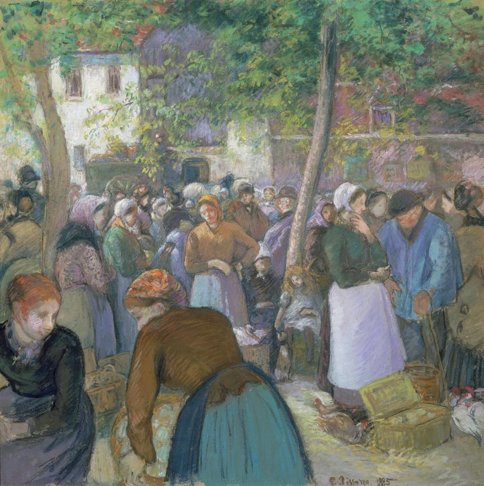 Камиль Писсарро. Птичий рынок в Гисоре