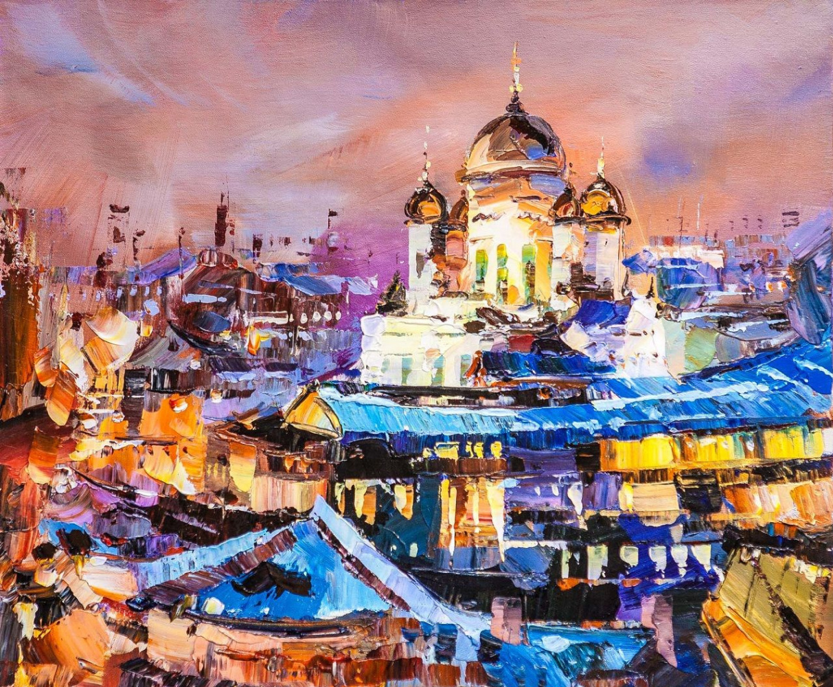 Jose Rodriguez. View of the Cathedral of Christ the Savior. Lilac sunset