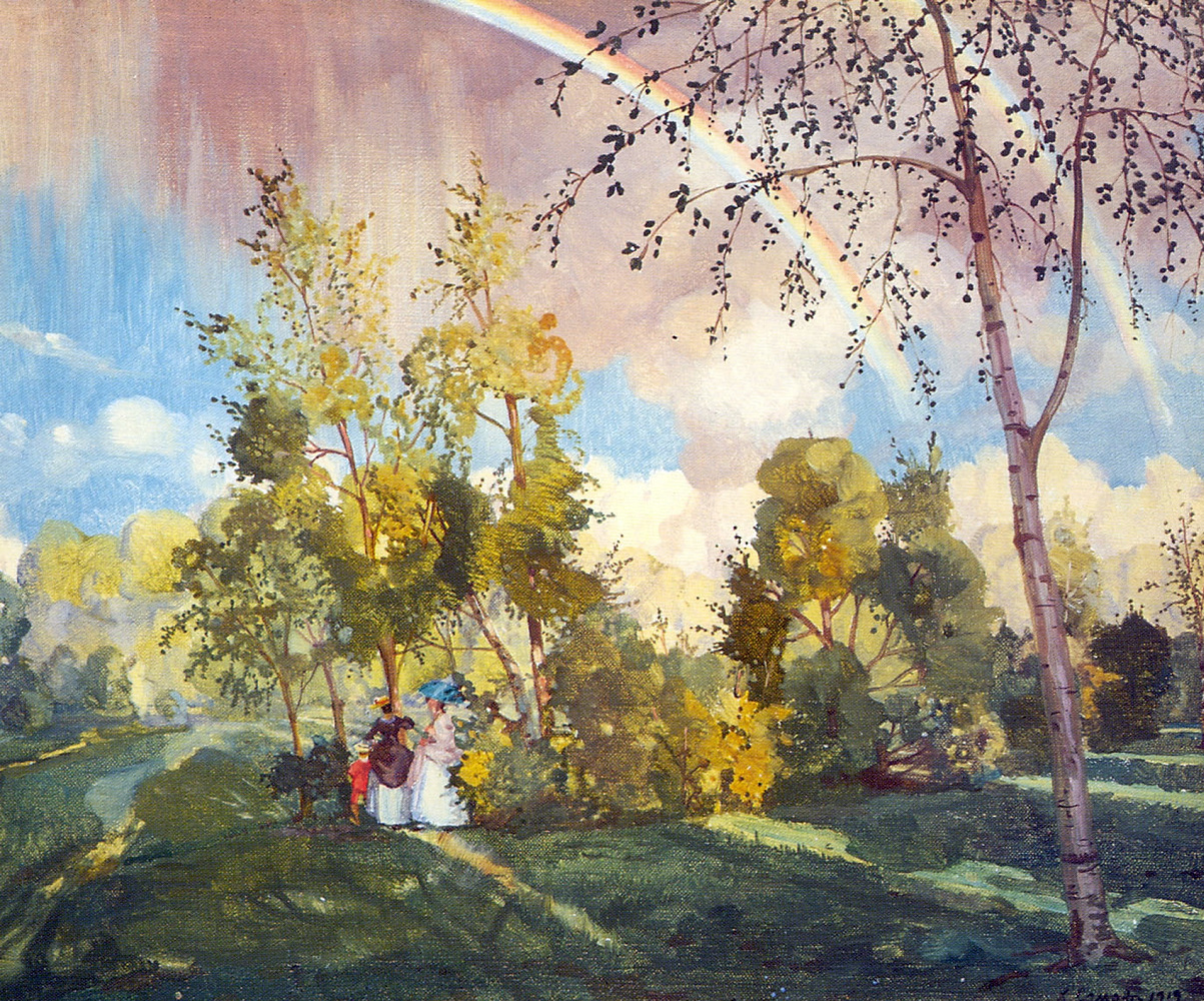 Konstantin Somov. Landscape with a rainbow