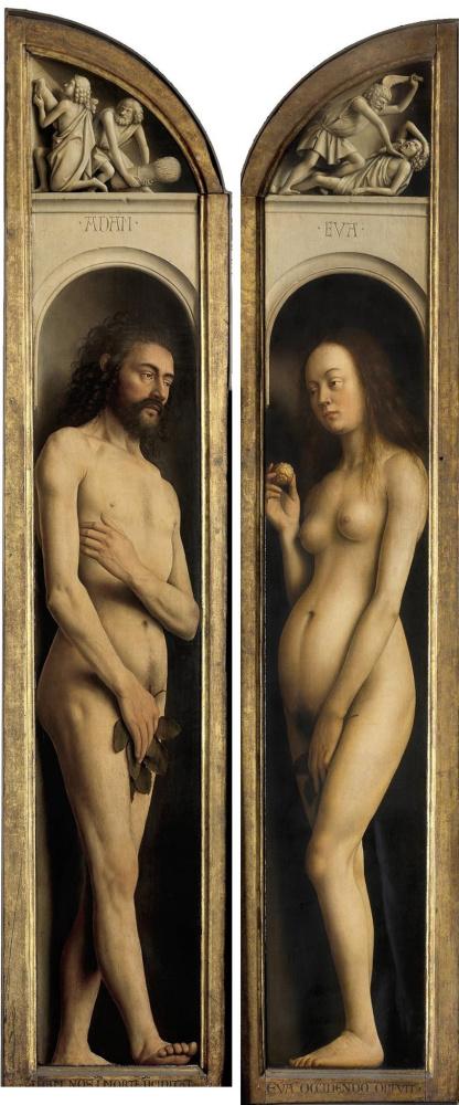 Губерт ван Эйк. Гентский алтарь. Адам и Ева (фрагмент)