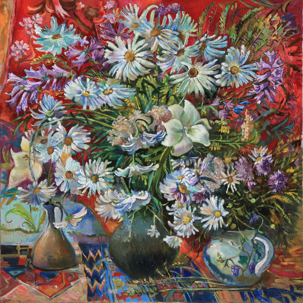 Maya Gusarina. Chamomiles and bells on a red background