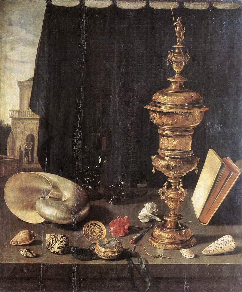 Pieter Claesz. Still life with a big golden goblet