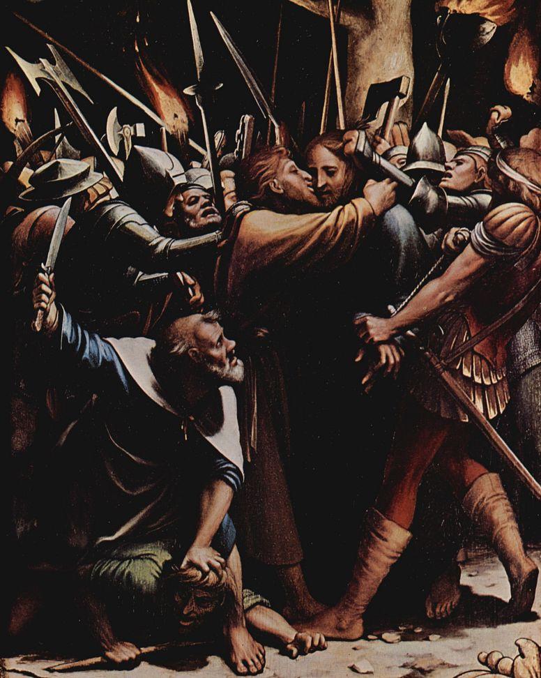 Ганс Гольбейн Младший. Алтарь Страстей Христовых, левая створка внутренняя сторона, сцена вверху: Поцелуй Иуды, деталь