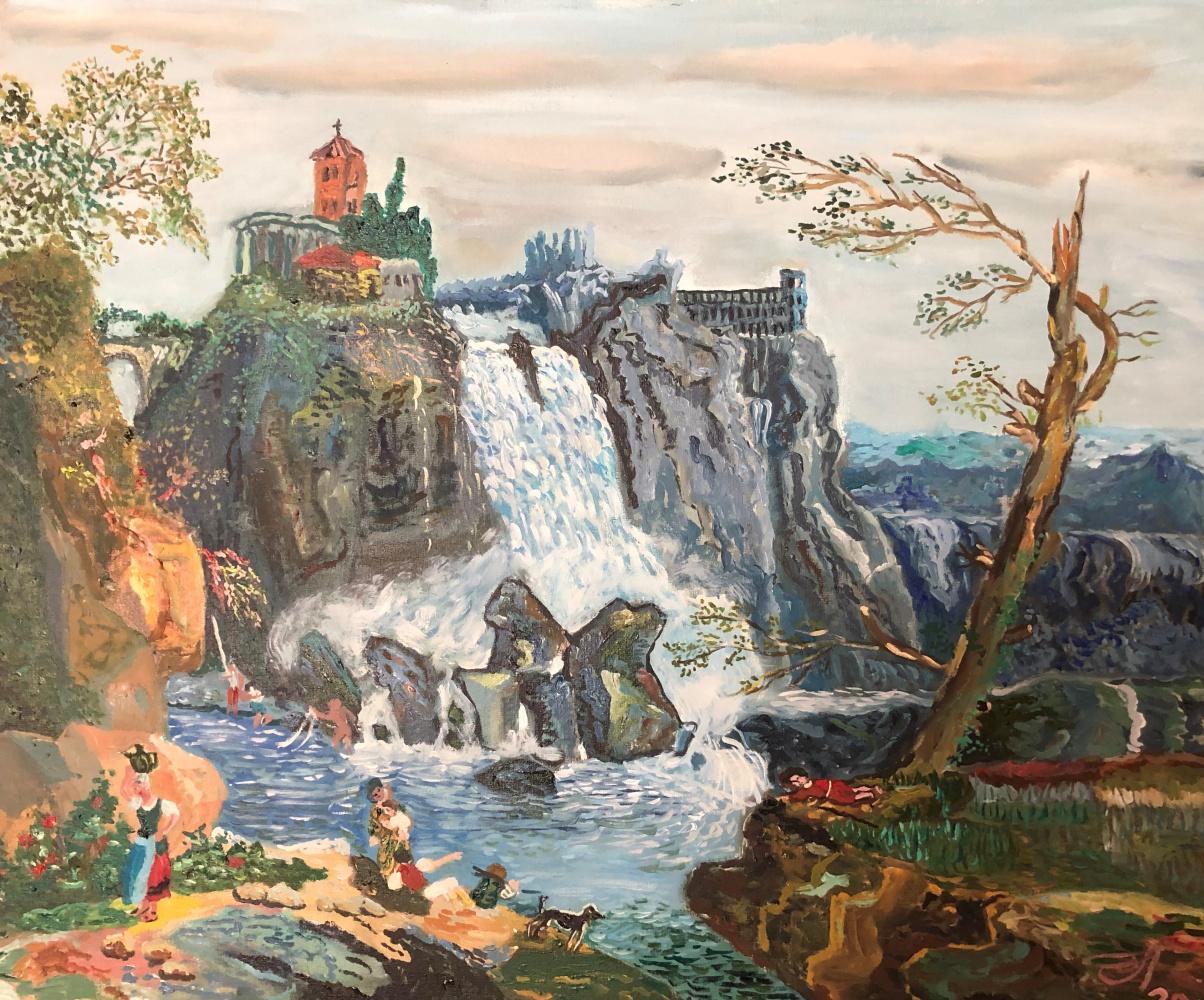 Sergey Vladimirovich Sebini. Tivoli waterfall. Variation on a theme by Hubert Robert