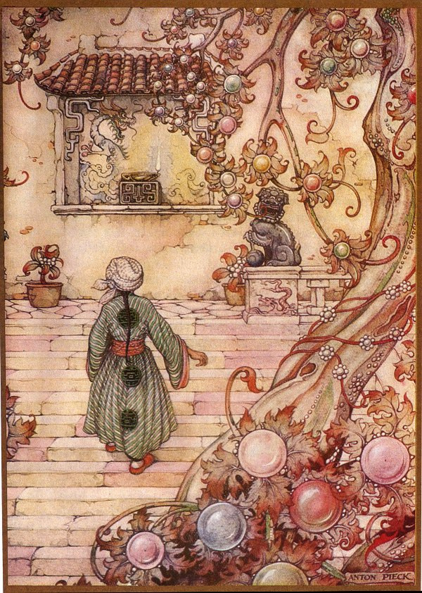 """Anton Pieck. """"The book of the thousand and one nights"""". The story of the magical lamp of Aladdin"""